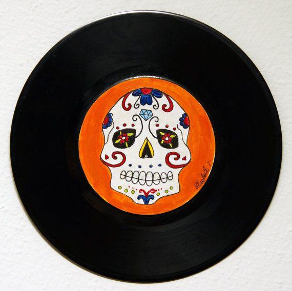 Rock'n'Roll Calavera _ original picture on vinyl record di FreakArtAtelier, €21.00 #sugarsull #calavera #painting