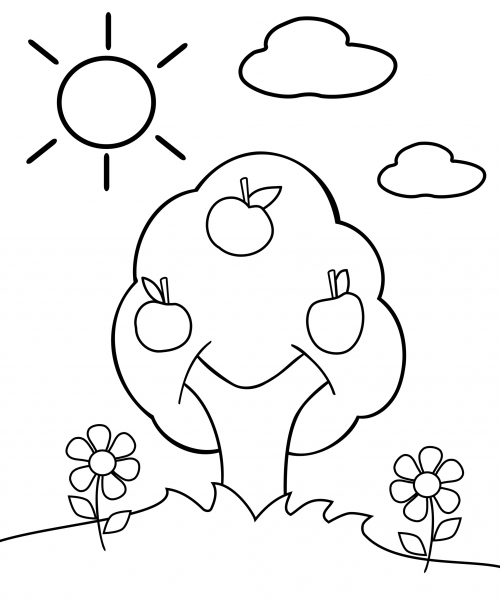 preschool coloring page apple tree colorear colores. Black Bedroom Furniture Sets. Home Design Ideas