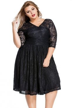 07f68316c3297 New Plus Size Sexy Women Sheer Lace Hollow-out V-Neck Curvy Evening Skater  Dress