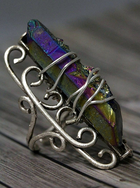 Titanium Rainbow Druzy Crystal Quartz Point Wire Wrap Ring ...