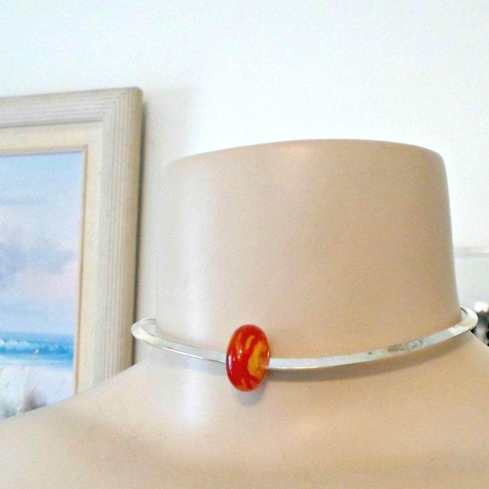 Bobs Flame Beads necklace lampwork orange rigid flat collar silvertone 12 3/4 sm #Pat2 #collar