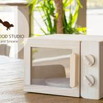 Wooden Play House Kitchen Range Type Toy Storage Box Natural Wood (Tung)