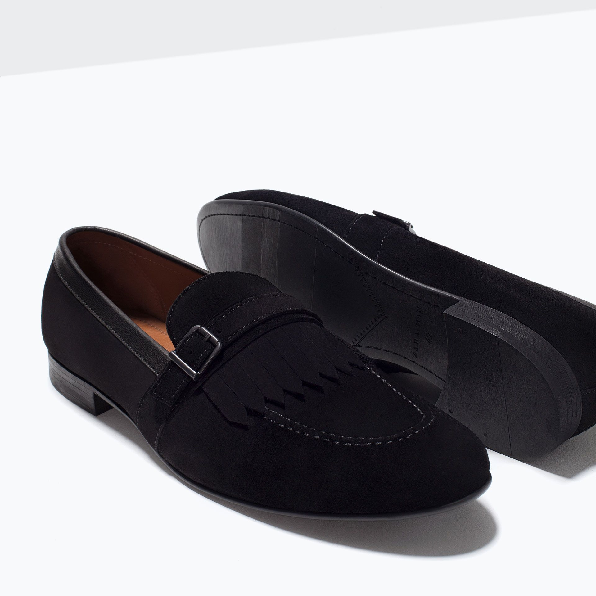 ZARA - MAN - LEATHER MOCCASIN WITH FRINGES