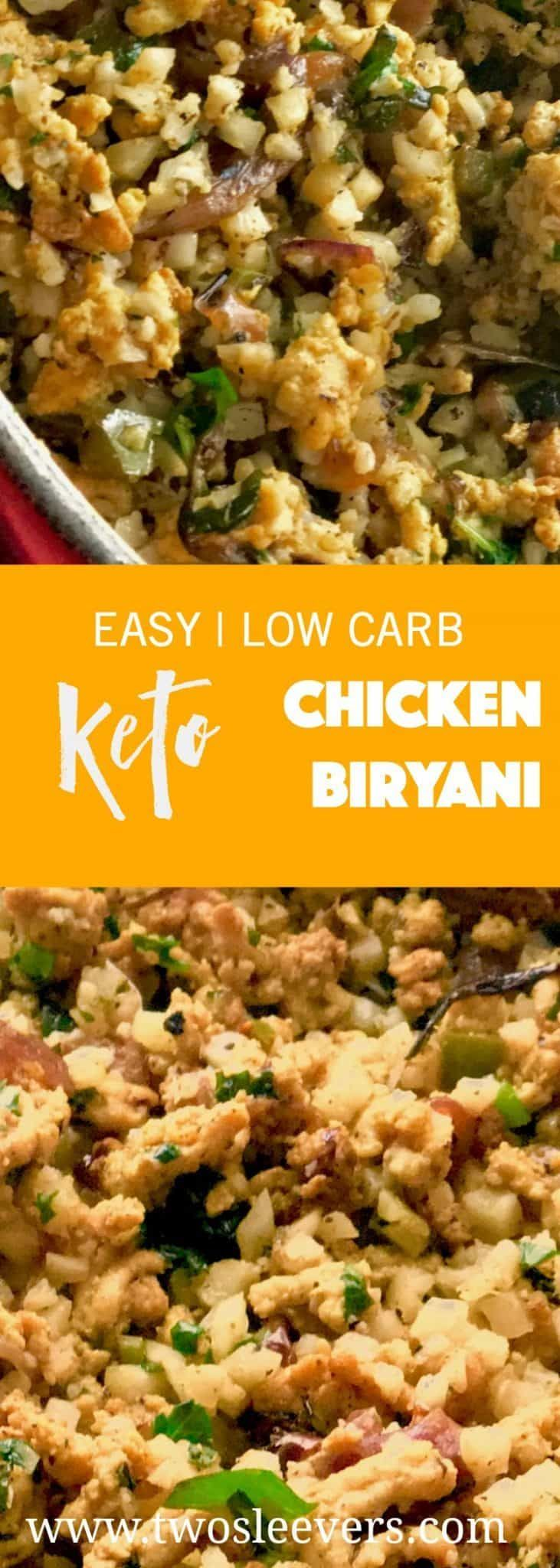 Low Carb Chicken Biryani is Low-Carb Indian Food at it's best.  Cauliflower and ground chicken make up this spicy, delicious low carb recipe. via @twosleevers