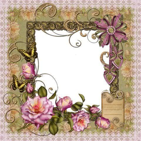 اشكال اطارات وبراويز جميلة اجمل بنات Vintage Collage Photo Scrapbook Floral Wreath