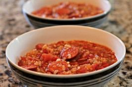 Spanish Sausage and Rice - Easy as dumping ingredients into a pot and heating it up.  It's so good!  Perfect for fall weather!