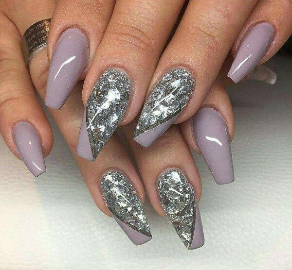 Silver nails pinterest coffin nails santa nails and nail inspo silver coffin nail designsacrylic prinsesfo Gallery