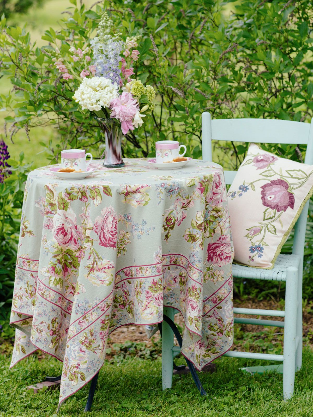 The Quiet Calm Instilled By The Victorian Rose Tablecloth In Sage Is The  Reason You Bring April Cornell Into Your Home.