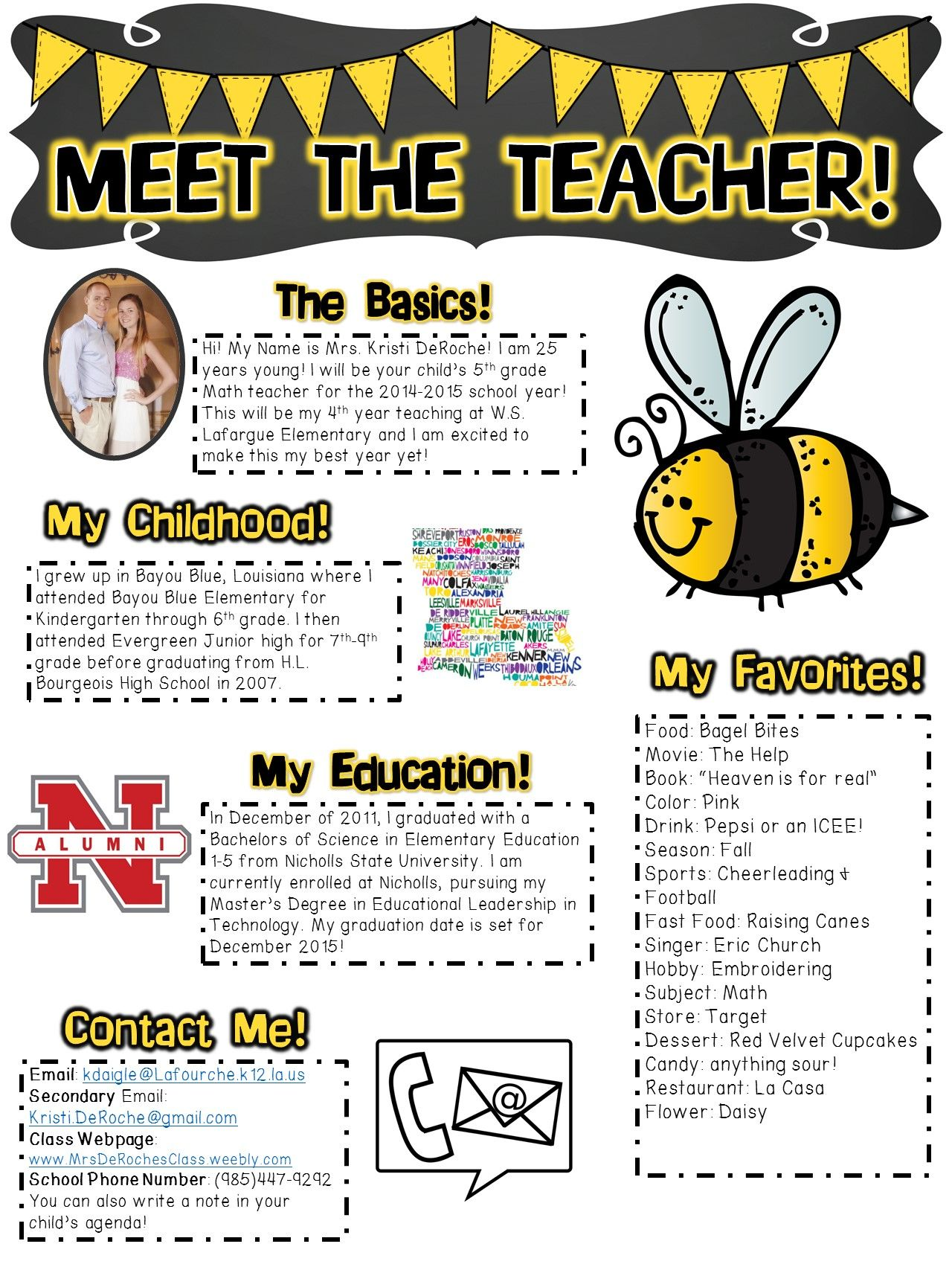 Meet The Teacher Newsletter Template Editable Bee