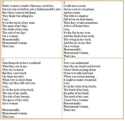 Phenomenal Woman By Maya Angelou I Ve Loved This Poem Since I Was