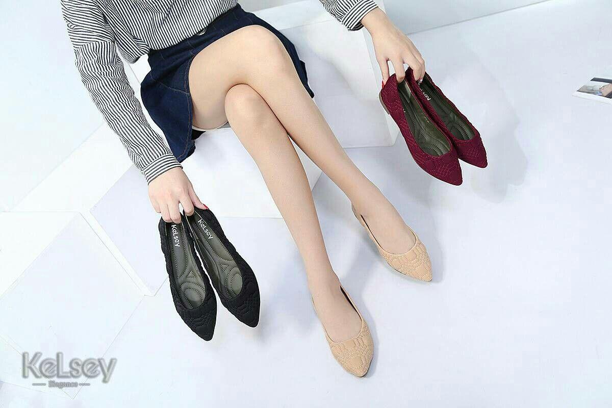 Sepatu Merek Kelsey 303 785 Flat Original Bahan Kanvash Kulit