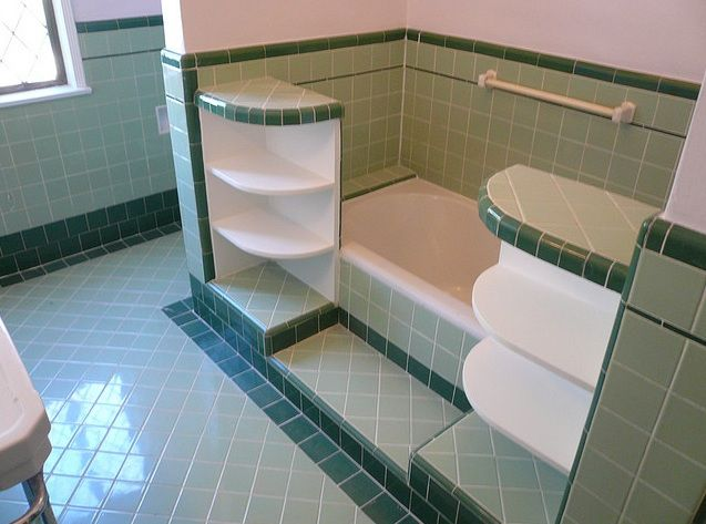 1950S Bathroom Design   sage green and forest green original tile bathroom  from 1930s or early