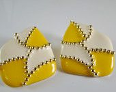 Vintage Don Lin Pierced Earrings - Yellow, White, Goldtone - Marked - Perfect for Summer