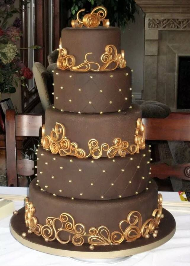 Chocolate cake with golden details