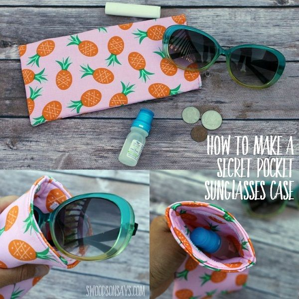 Tutorial Secret pocket sunglasses case is part of Simple sunglasses, Sunglasses case, Simple sewing tutorial, Sewing patterns free, Pouch sewing, Sewing tutorials free - Stephanie from Swoodson Says shares a tutorial for sewing a simple sunglasses case with a hidden pocket  The secret pocket is on the inside, tucked down in the case and held closed with a strip of…
