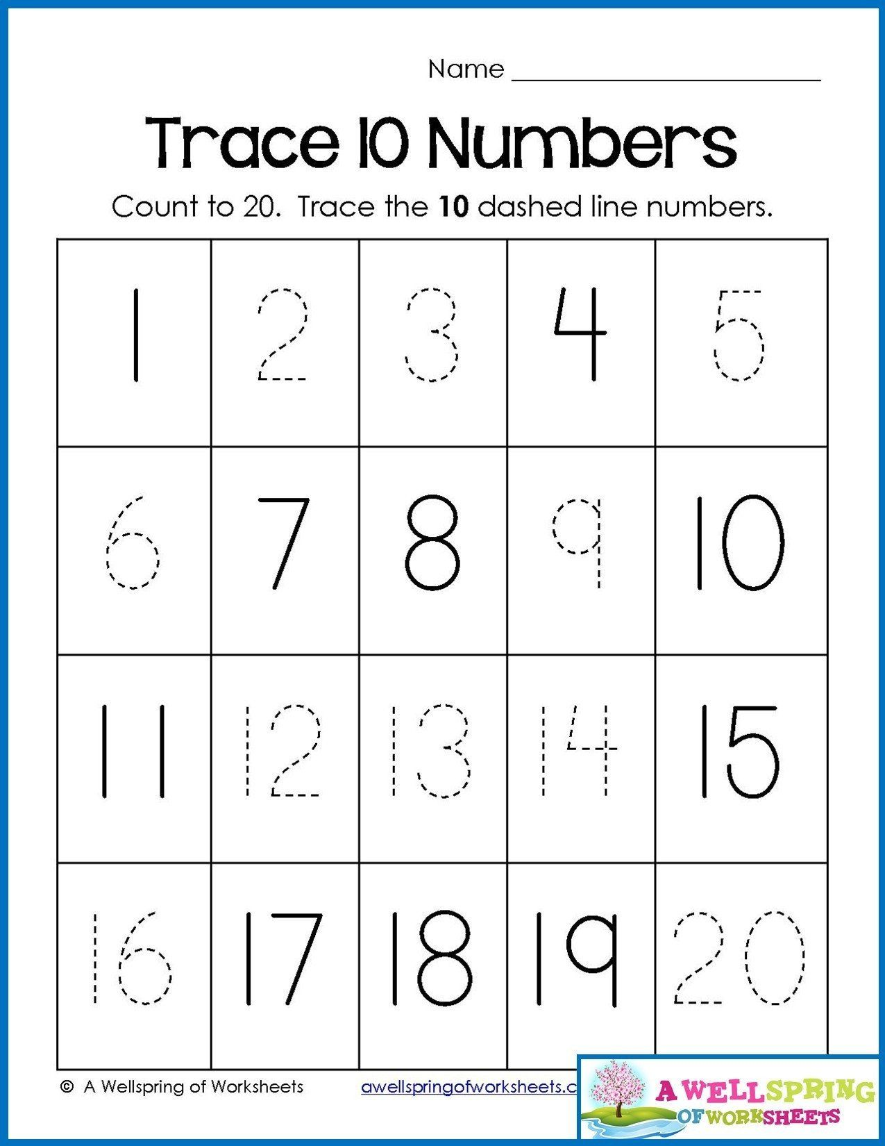 Tracing Numbers 1 20 Worksheets 4 Counting Worksheets