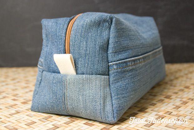 kulturbeutel aus alter jeans m dchenflohmarkt pinterest alte jeans upcycling alte jeans. Black Bedroom Furniture Sets. Home Design Ideas