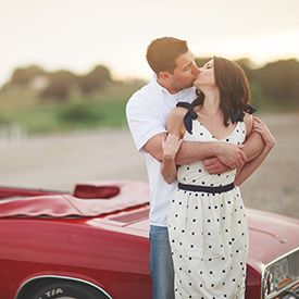 A super sweet drive-in movie engagement session with a '67 convertible