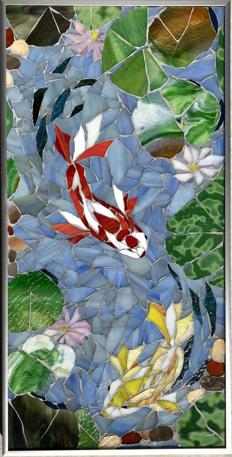 The Koi Chase Stained Glass Mosaic Wall Art Koi Art Home Etsy Custom Mosaic Art Mosaic Art Glass Mosaic Art