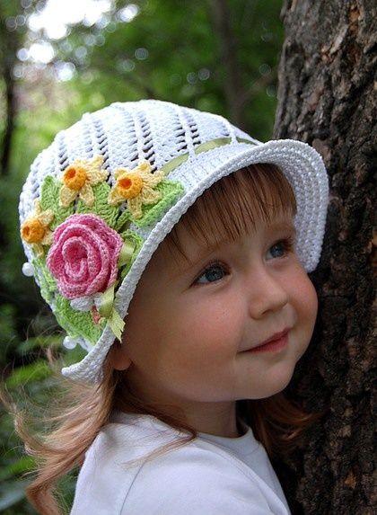 Pretty Girls Floral Crochet Hat Crochet Pinterest Crochet