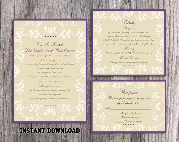 Wedding Invitation Template Printable Invitations Editable Eggplant Elegant White Purple Invites Diy