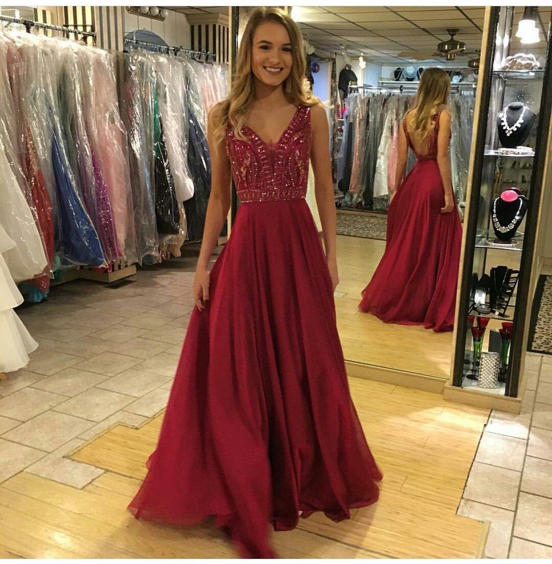 Backless dark red prom dresslong prom dresseslong evening dresses
