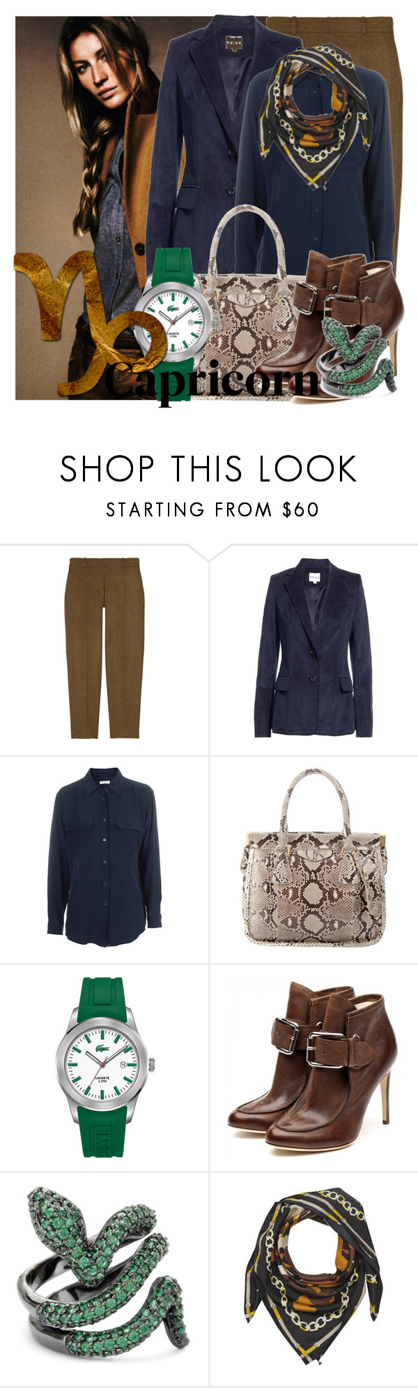 """""""capricorn."""" by mostincrediblebaby ❤ liked on Polyvore featuring J.Crew, Reiss, Equipment, Prada, Lacoste, Falcon Enamelware and Codello"""