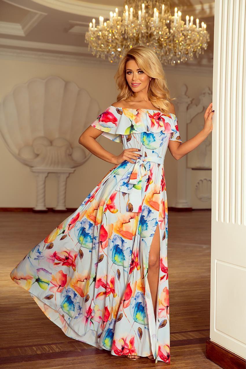 3ce1be4e845c47 Sukienka Maxi w Stylu Hiszpańskim Kolorowe Kwiaty NU194-1 w 2019 ...