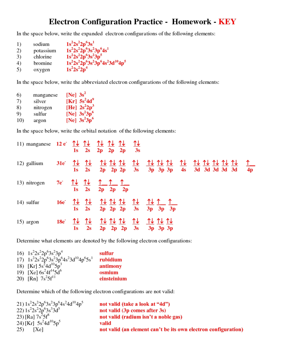 Worksheets Electron Configuration Worksheet Answer Key exercise electron configurations worksheet configurations