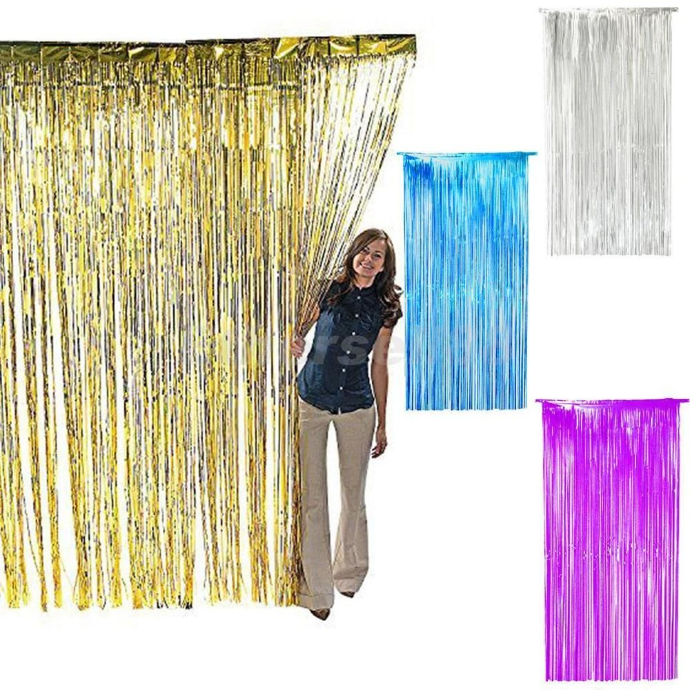 Shimmer Fringe Foil Tinsel Curtain Window Backdrop Blinds Birthday Wedding Baby Shower Party Decorations Christmas Party Decorations Christmas Door Decorations