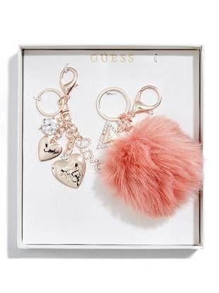 Pink Pom Charm Keychain Set   shop.GUESS.com