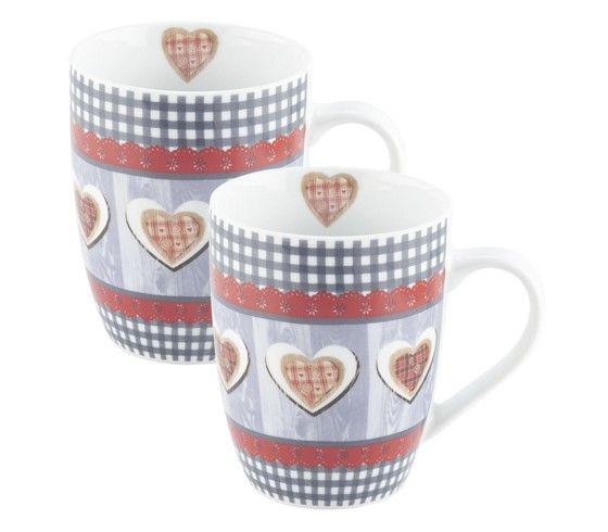 Kaffeebecher im fröhlich rustikalen Herz-Design - praktisch im 2-er Set