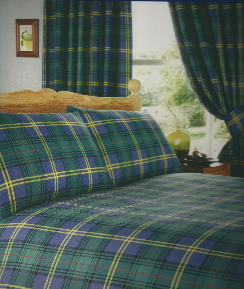 Blue And Green Tartan Duvet Cover Single Double King Or