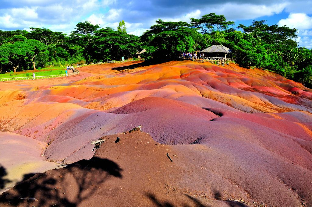 Seven-coloured earth at Chamarel, one of the several wonders of Mauritius.