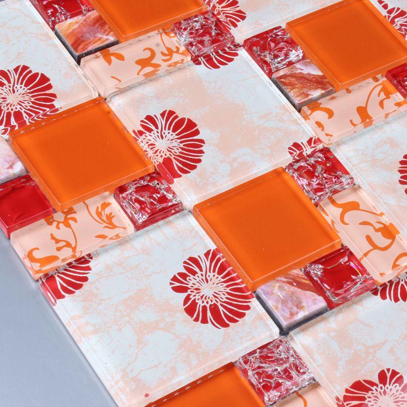 Orange Gedruckt Puzzle Mosaik Fliesen Blume Ehgm1001b Küche Backsplash Bad  Dusche Mosaikfliesen Wand Abdeckung Flur Grenze