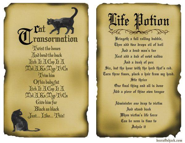 Disney inspired hocus pocus spells - Free printable spell