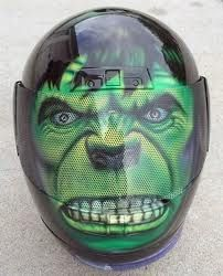 Casque moto hulk