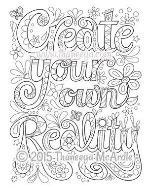 Create Your Own Reality From Good Vibes Coloring Book Quote