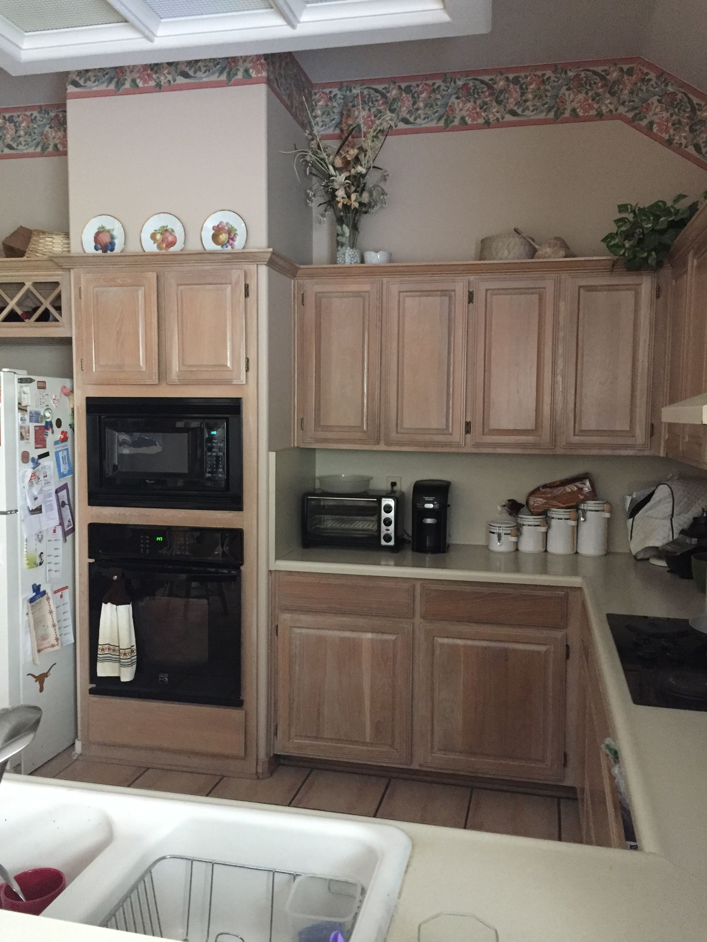 Our Kitchen Pickled Oak Cabinets Have To Go Kitchen Remodel Kitchen Cabinets Oak Cabinets