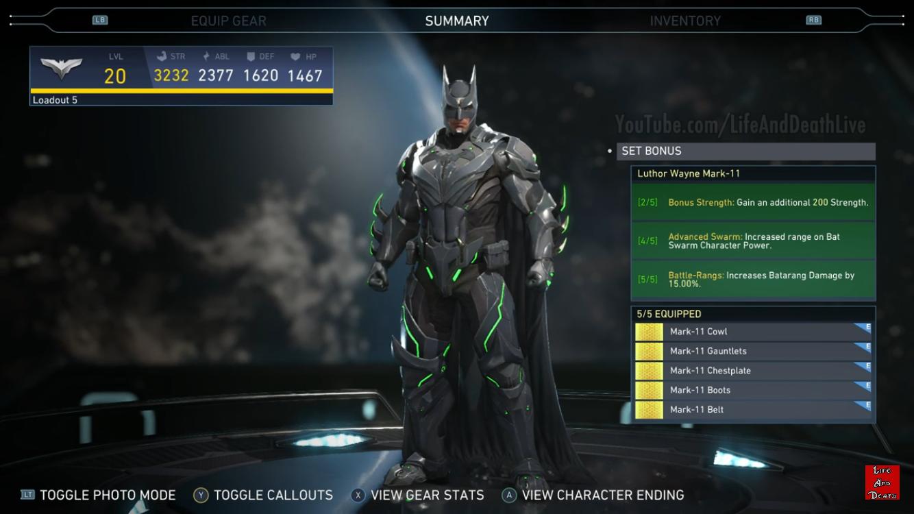 Batman S Luthor Wayne Mark 11 Epic Gear Set Injustice 2 Batman Injustice Injustice 2 Batman Batman Metal