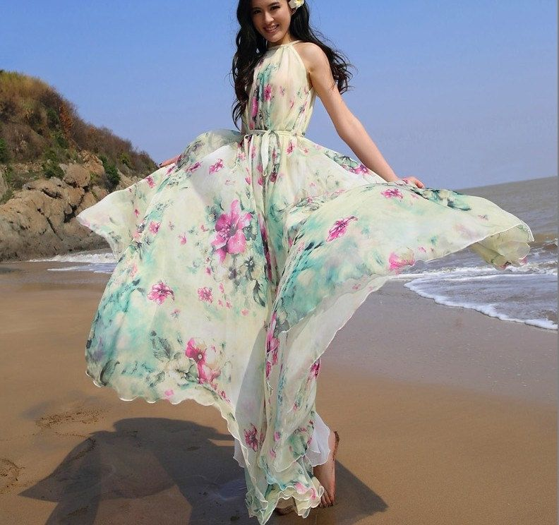 Summer Floral Long Beach Maxi Dress Lightweight by LYDRESS on Etsy, $58.00