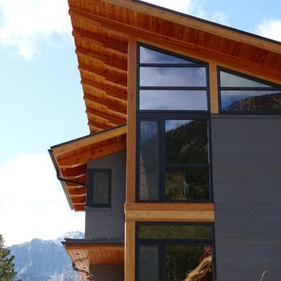 Grey Siding Black Windows Cedar Accents Exterior Black Window Frames Design Pictures Remodel Mountain Home Exterior House Exterior Exterior House Colors