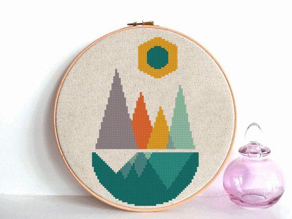 Forest Cross Stitch Patrón geométrico escandinavo mediados de ...