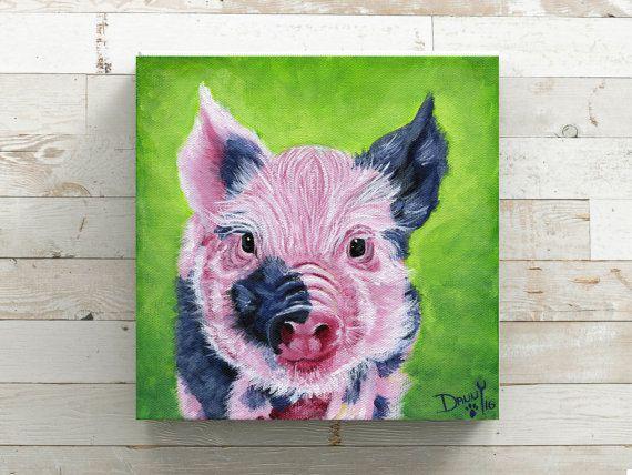 Pig Painting Print Canvas Home Decor Lover Gift Farm Animal Vegan