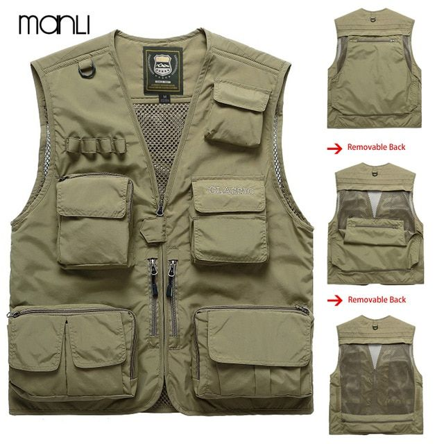 2607355579ea8 MANLI Outdoor Brand Hiking Vests Waistcoat For Men Multi-pockets Unloading  Dry Thin Mesh Photography Military Cargo Coats Review