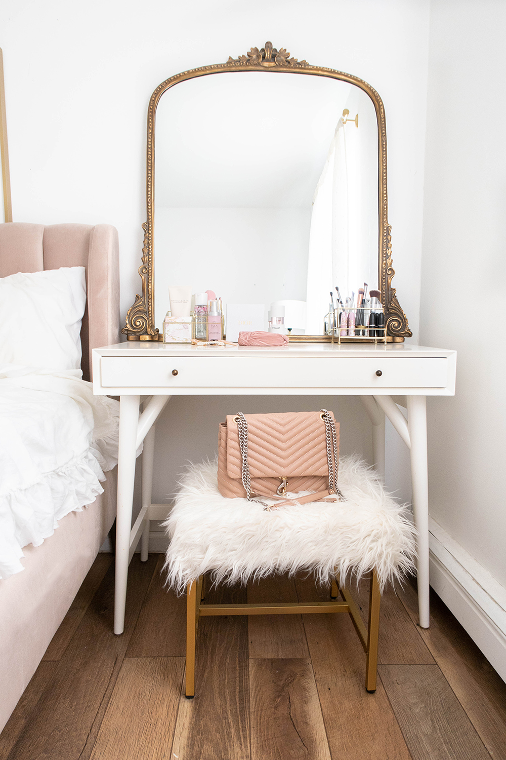 Small Space Vanity Inspiration Blush, gold bedroom, Gold