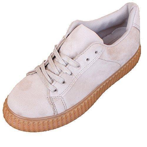 Oferta: 29.9€ Dto: -40%. Comprar Ofertas de Zapatillas Ante de Mujer Zapato Plano con Plataforma Estilo Casual y Deportivo, Color Beis barato. ¡Mira las ofertas!