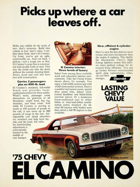 1974 Ad 1975 Chevrolet El Camino 2 Door Coupe Utility Vehicle Gm