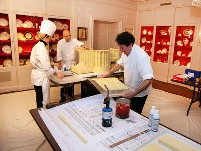 White House Gingerbread | (2011) Pastry chefs, Bill Yosses, Susie Morrison and Chris Philips constructing the Obama's annual gingerbread house.
