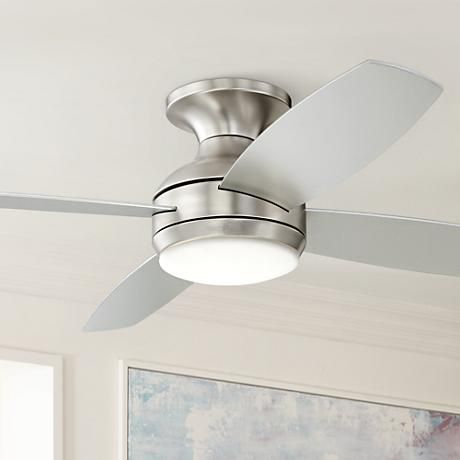 52 casa elite brushed nickel led hugger ceiling fan ceiling fan get the benefit of a refreshing breeze and additional ambient lighting with this led hugger ceiling fan style at lamps plus mozeypictures Images